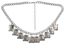 Ten (10) Commandments Silver Charm Necklace
