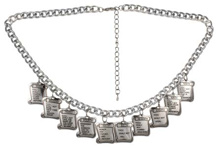Ten Commandments Silver Charm Necklace