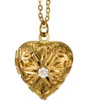 Photo Locket - Hearts on Heart  Pendant Gold