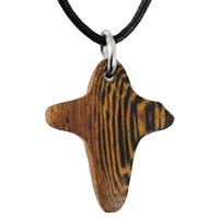 Wood Cross Necklace - Modern Soft Edges
