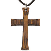 Wood Cross Necklace - Flared Ends - Black Cord