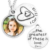 Scripture Photo Necklace - Heart Silver 1 Cor. 13:13