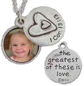 Love Photo Heart Necklace -  Silver 1 Cor. 13:13