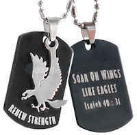 Renew Strength Eagle Dog Tag Stainless Steel