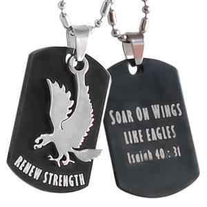 Isaiah 40:31 Dog Tag Faith Necklace - Christian Jewelry