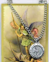 Saint Michael the Archangel Pewter Necklace