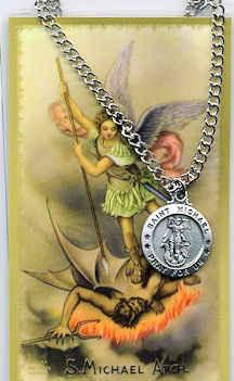 st michael archangel pewter necklace