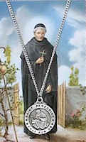 St. Peregrine Pewter Necklace & Prayer Card