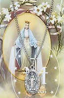 Our Lady of Miraculous Medal Pewter Necklace  & Prayer Card