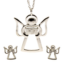 Angel Pendant & Earrings Set Silver