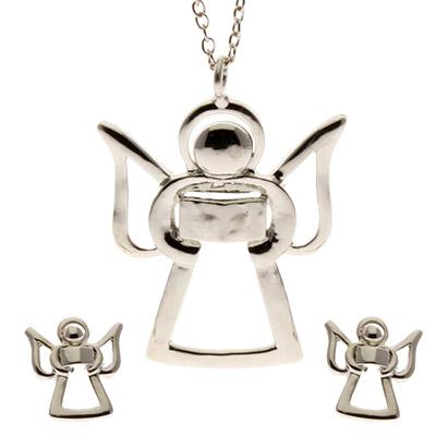 Angel Pendant & Earrings Set Silver