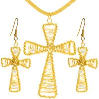 Gold Plated  Cross Pendant & Earrings Set