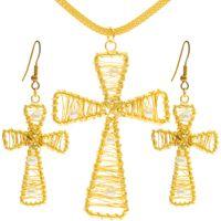 Gold Plated  Cross Pendant & Earrings Set