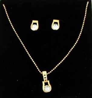 Gold Rhinestone Pendant - Earrings Set