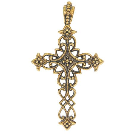 Antique Gold Filigree Cross Pendant