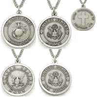 Sterling Silver Christian Military Necklace