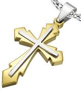 Stainless Steel 2-tone Cross Necklace Pendant