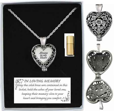 Always in my heart memorial ashes or hair locket pendant necklace mozeypictures Choice Image