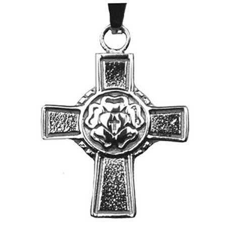 Lutheran Rose Cross Necklace Lutheran Identifier Stainless Steel