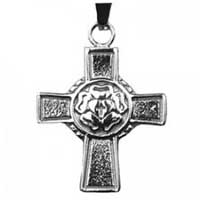 Lutheran Rose Cross Necklace Stainless Steel