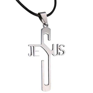 Stainless Steel Jesus Cross Necklace Black Cord