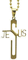 Jesus Cross Necklace Gold Stainless Steel