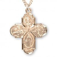 4 Way Catholic Sterling Silver Necklace Gold Plated