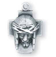 Christ Head on Cross Sterling Silver Necklace