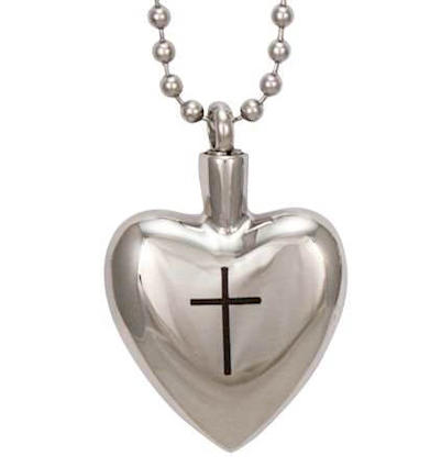 Heart with Cross Memorial Ash Urn Necklace