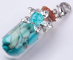 Mini Bottle with Colored Stones Charms