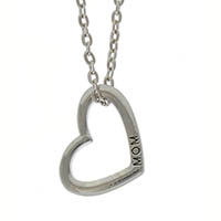 Mom Heart Necklace Silver, Gift Boxed