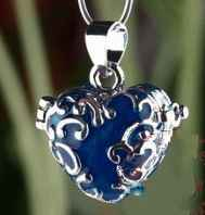 Prayer or Memory Locket Heart Blue Silver