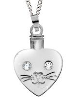 Cat Face Heart Silver Memorial Urn Locket Necklace