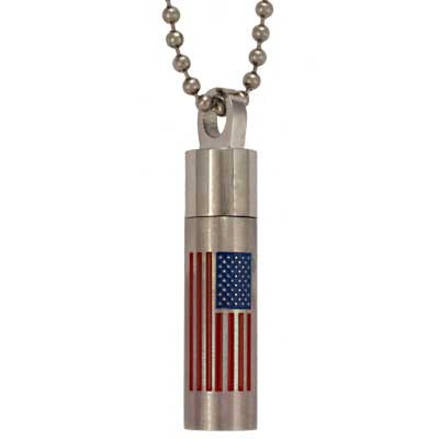 Urn Cylinder Cremation Jewelry with American Flag for America Polished Stainless Steel Pendant Urn American Cylinder Cremation Jewelry