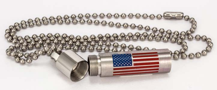 American Flag Cremation Ashes Memorial Urn Necklace