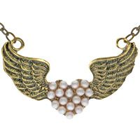 Vintage Pearl Angel Wings Necklace