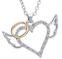 Heart Angel Wings Rhinestone Necklace