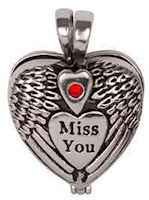 Miss You Winged Memorial Ash Urn Necklace