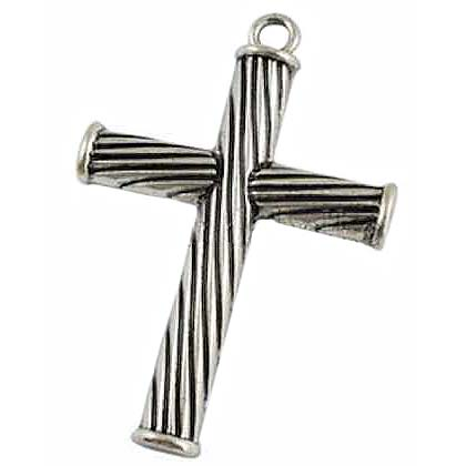 Twisted Cross Pendant Large, Stainless Chain