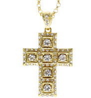 Rhinestone Cross Necklace Gold Large