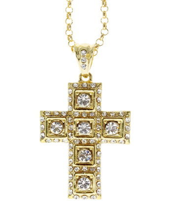 Rhinestone Cross Necklace Gold Large