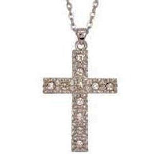 Rhinestone Cross Necklace Silver