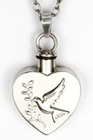 Spirit Dove Heart Urn Keepsake Necklace