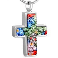 Flowers Cross Stainless Steel Cremation Necklace