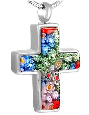 Flowers Cross Cremation Ash Urn Necklace