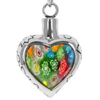 Flower Patch Heart Stainless Steel Cremation Necklace