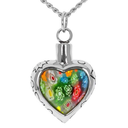 Flowers Love Heart Stainless Steel Cremation Necklace