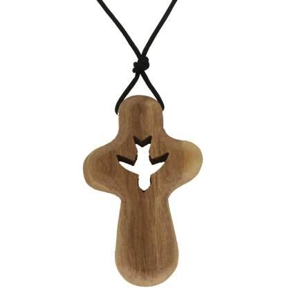 Spirit Dove Prayer Cross Necklace Olive Wood