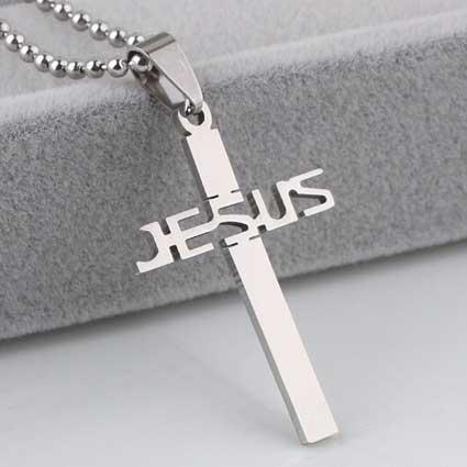 Cross Jesus Necklace Stainless Steel