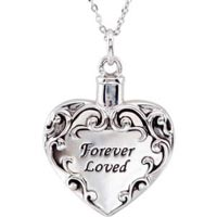 Sterling Silver Forever Loved Cremation Ash Necklace